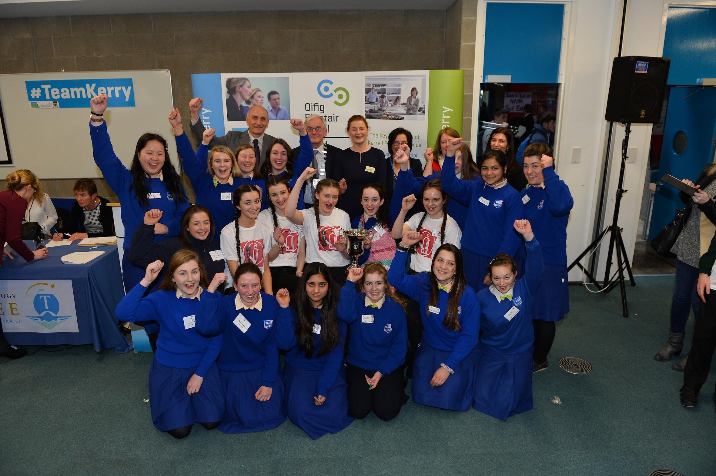 The St Brigid's Presentation Secondary School students who won the award for most enterprising school.