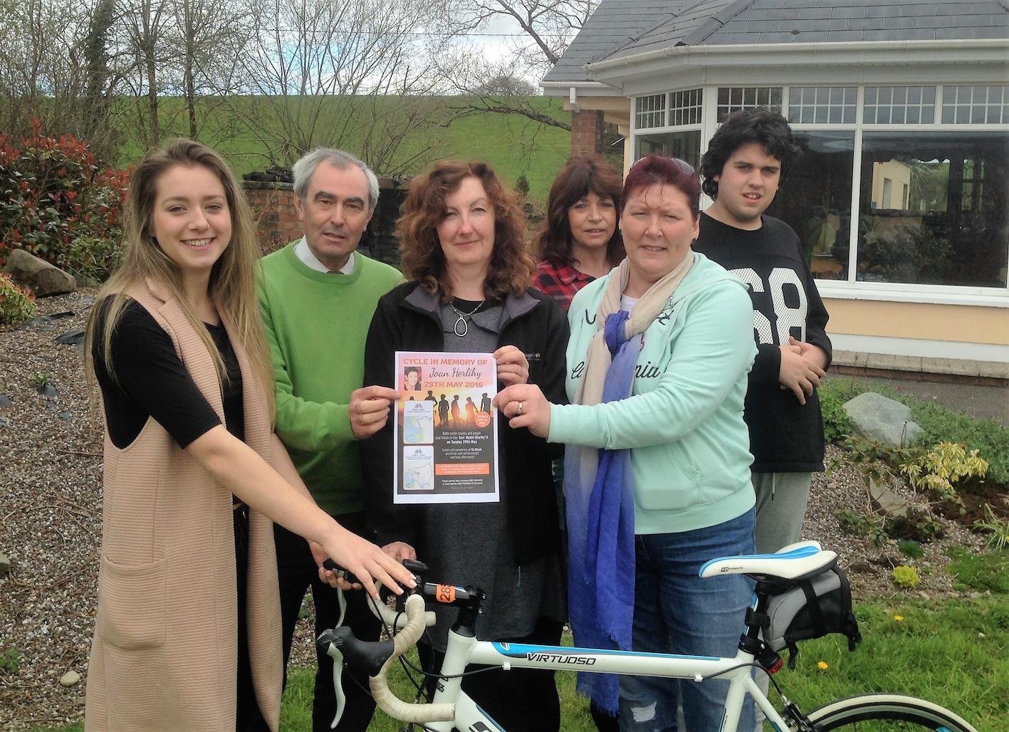 Launching the cycle in memory of Joan Herlihy are Laura Herlihy, Joan's daughter; Christy Lehane; Marie Shannon; Catherine McEniry, Joan's sister; Breda Hickey; and Tom McEniry, Joan's nephew.