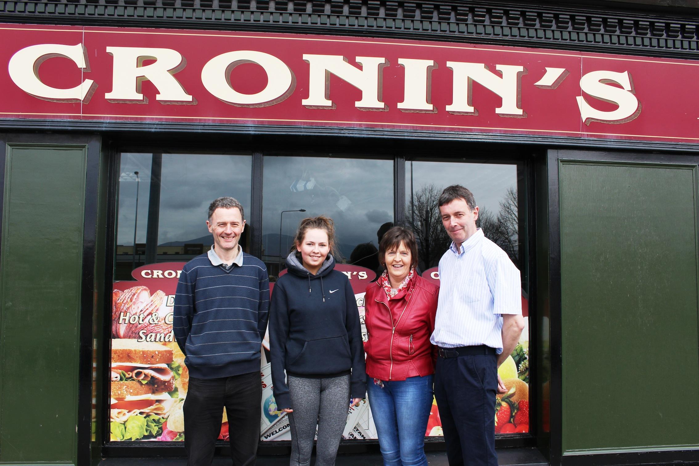 Gene, Sarah, Marie and Patrick Cronin outside Cronin's Shop.