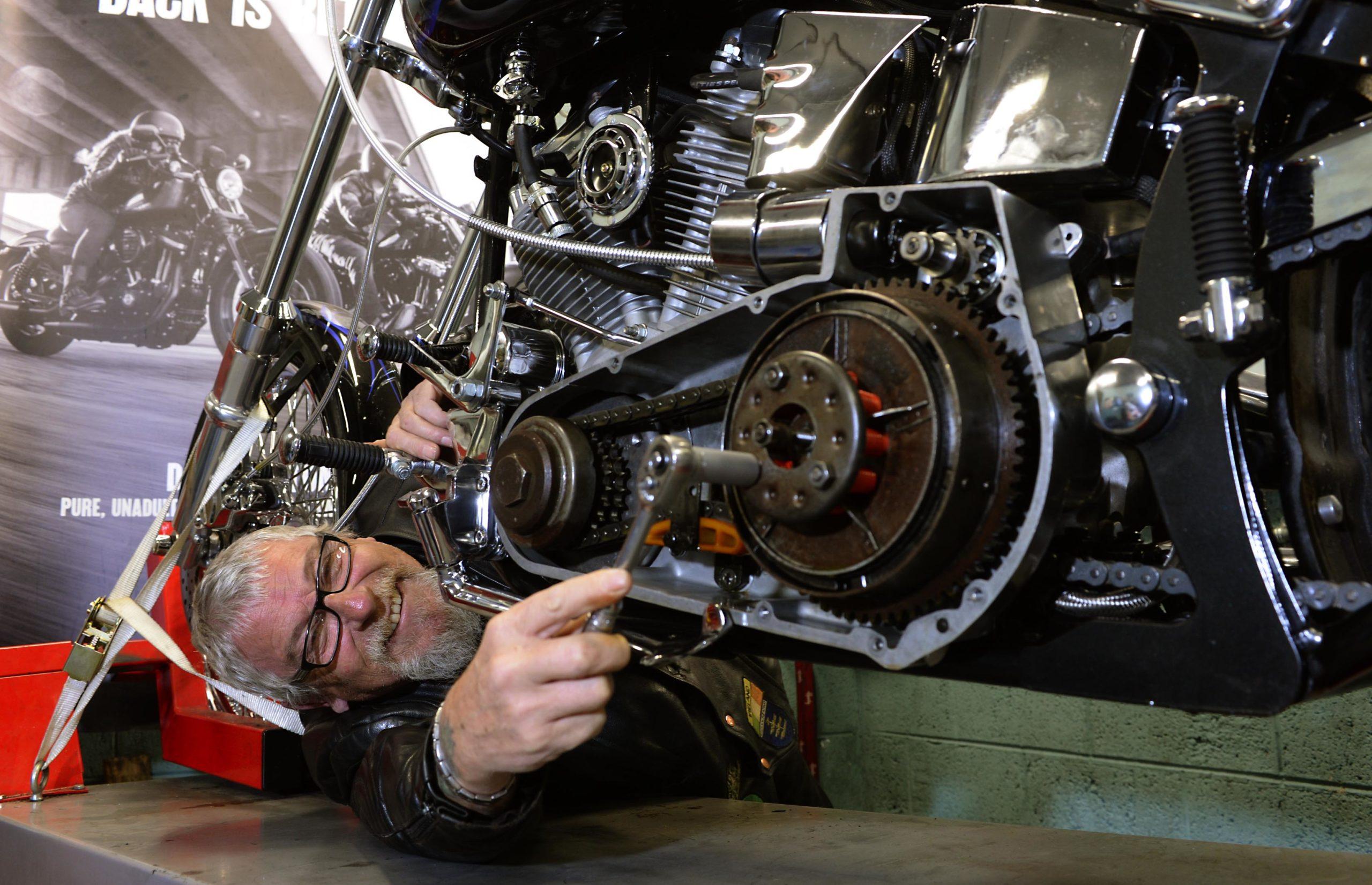 Biker Mike English tunes up his Harley-Davidson for Ireland BikeFest Killarney. PICTURE: DON MACMONAGLE