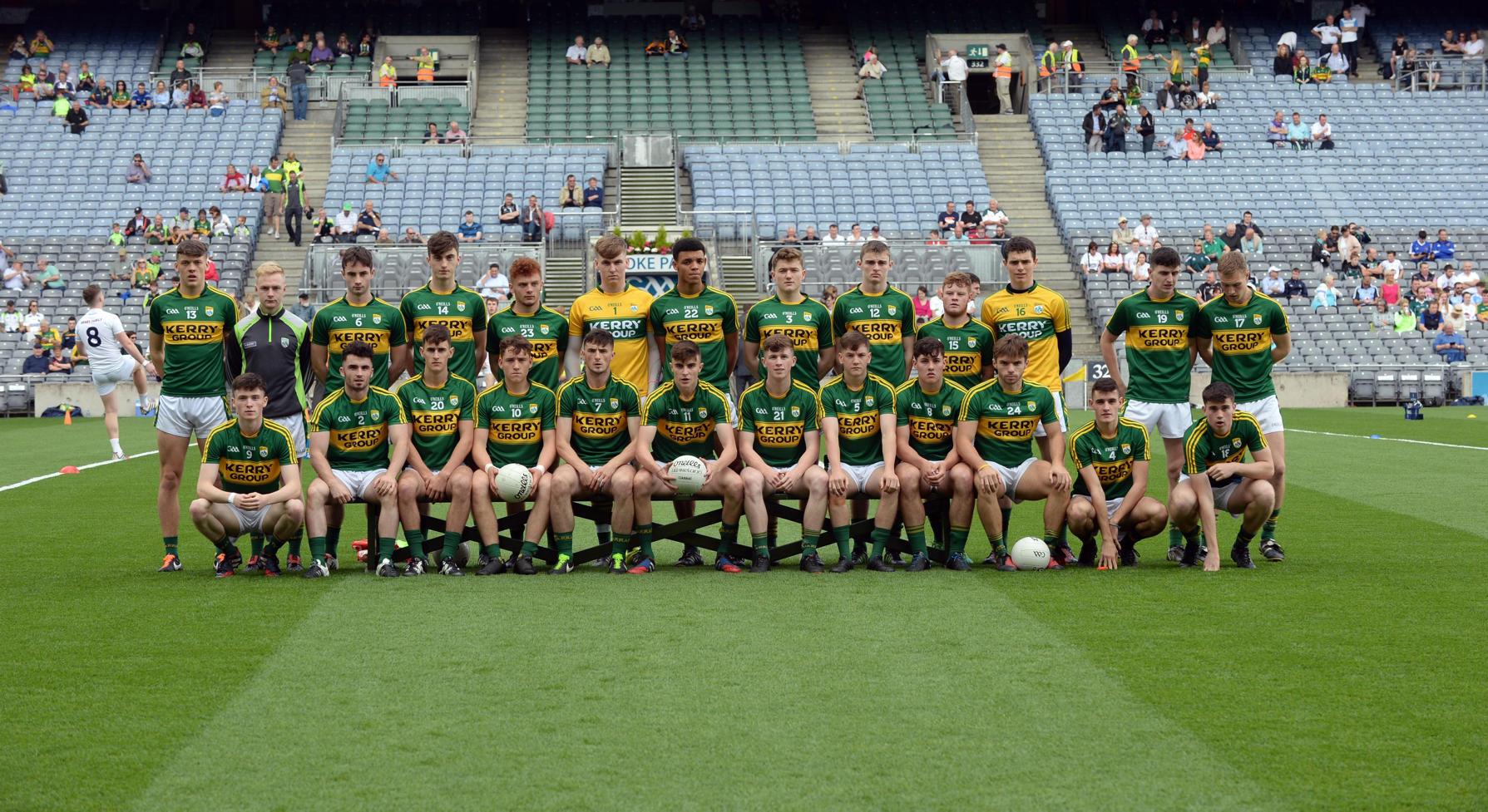 The Kerry Minor team in the Kerry V Kildare Minor All-Ireland Semi-Final in Croke Park on Sunday. PICTURE: DON MACMONAGLE, MACMONAGLE.COM