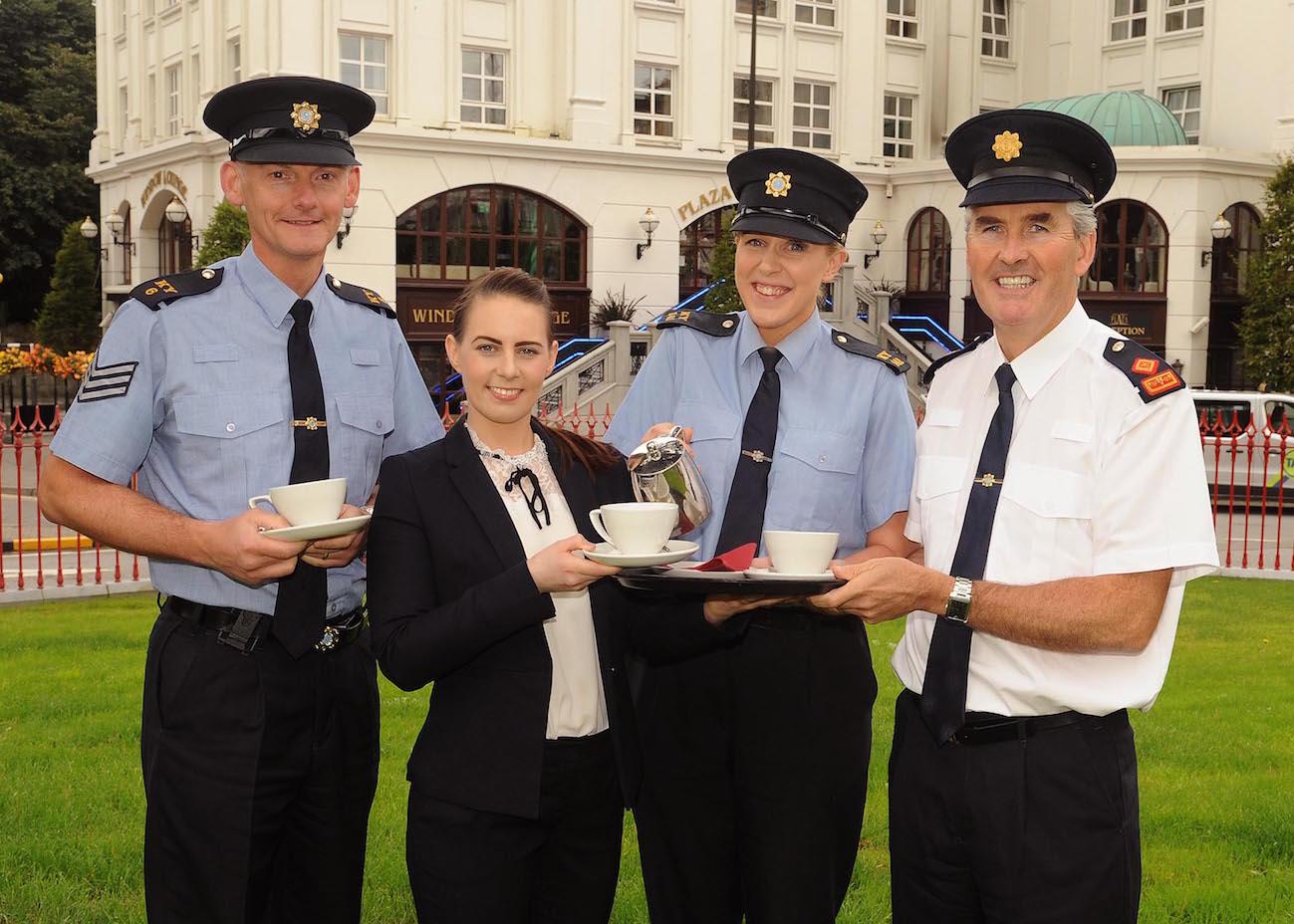 Sgt Dermot O'Connell, Garda Gillian MacEoin and Superintendent Flor Murphy with Orla O'Driscoll, Killarney Plaza Hotel, launching the Garda Coffee morning at The Killarney Plaza Hotel. PICTURE: EAMONN KEOGH