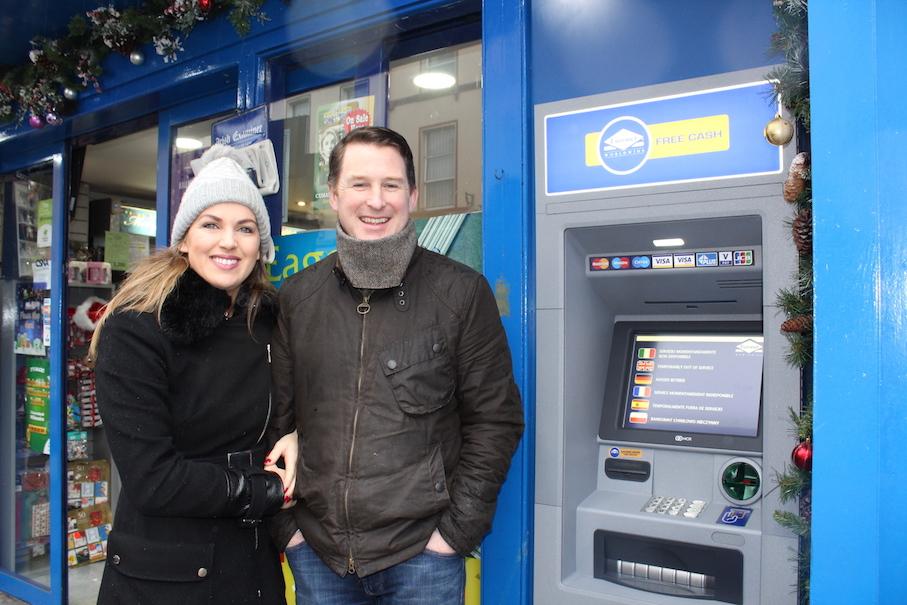Jill and Pat Duggan at the new ATM at Eagers, Killarney.