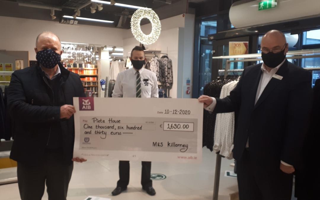 M&S Killarney present a cheque to Pieta